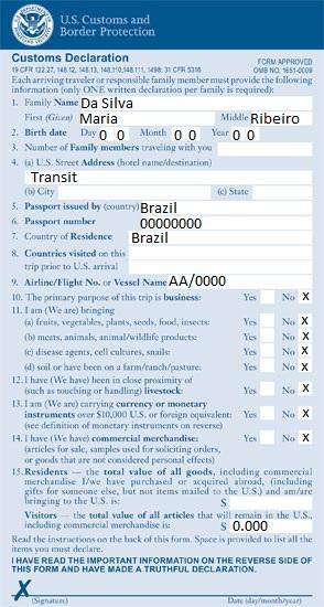 formulario estados unidos: